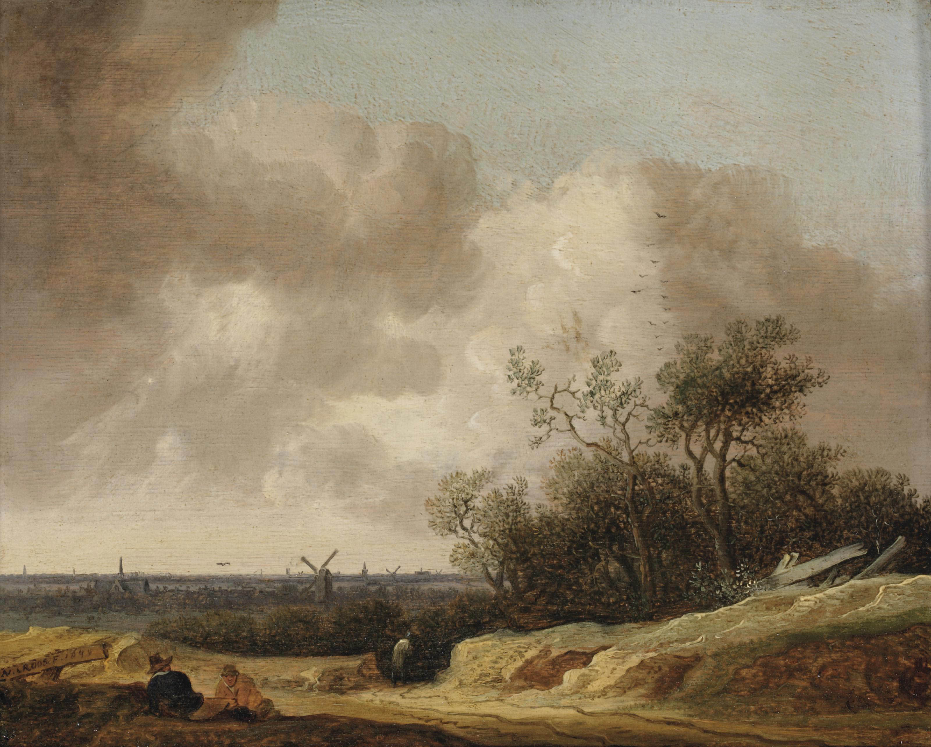 A dune landscape with figures resting near a track, a view of Haarlem in the distance