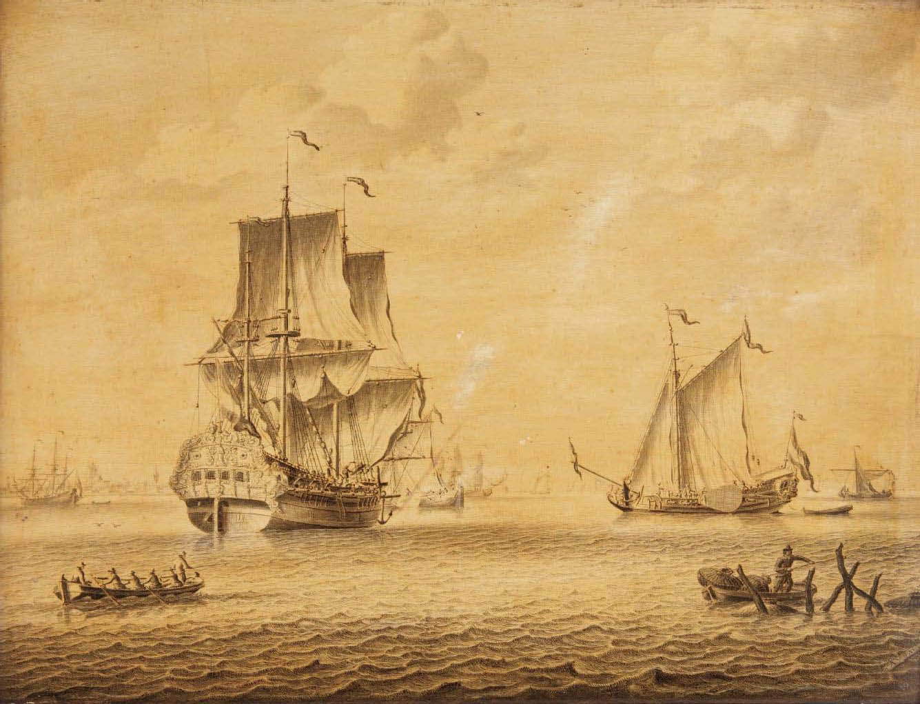 A three-master, a 'Statenjacht' and other ships on a calm, a dutch town in the distance