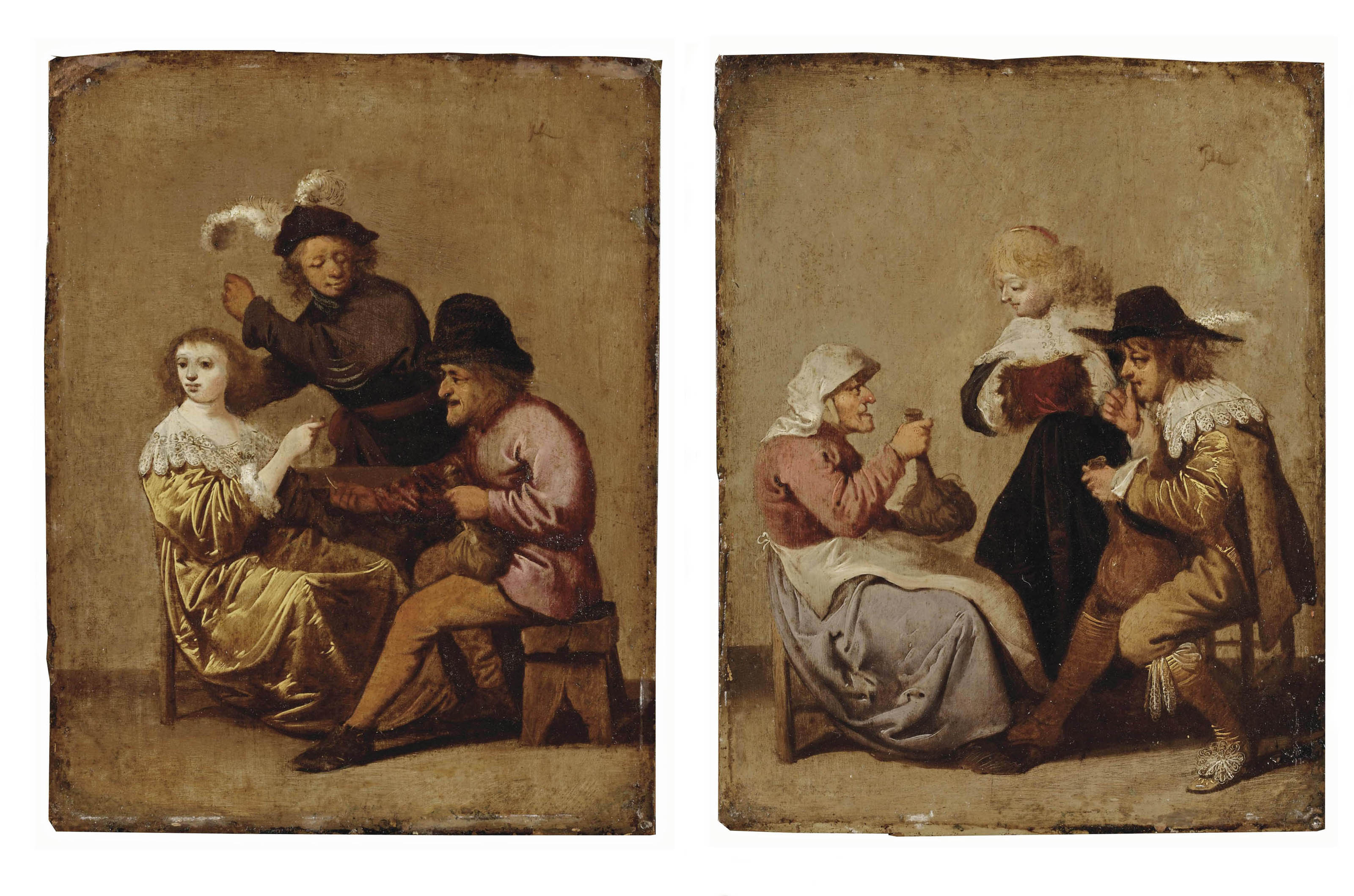 A drinking peasant courting a young lady with an angry young gentleman nearby; and A gentleman drinking with an old woman, a young lady nearby