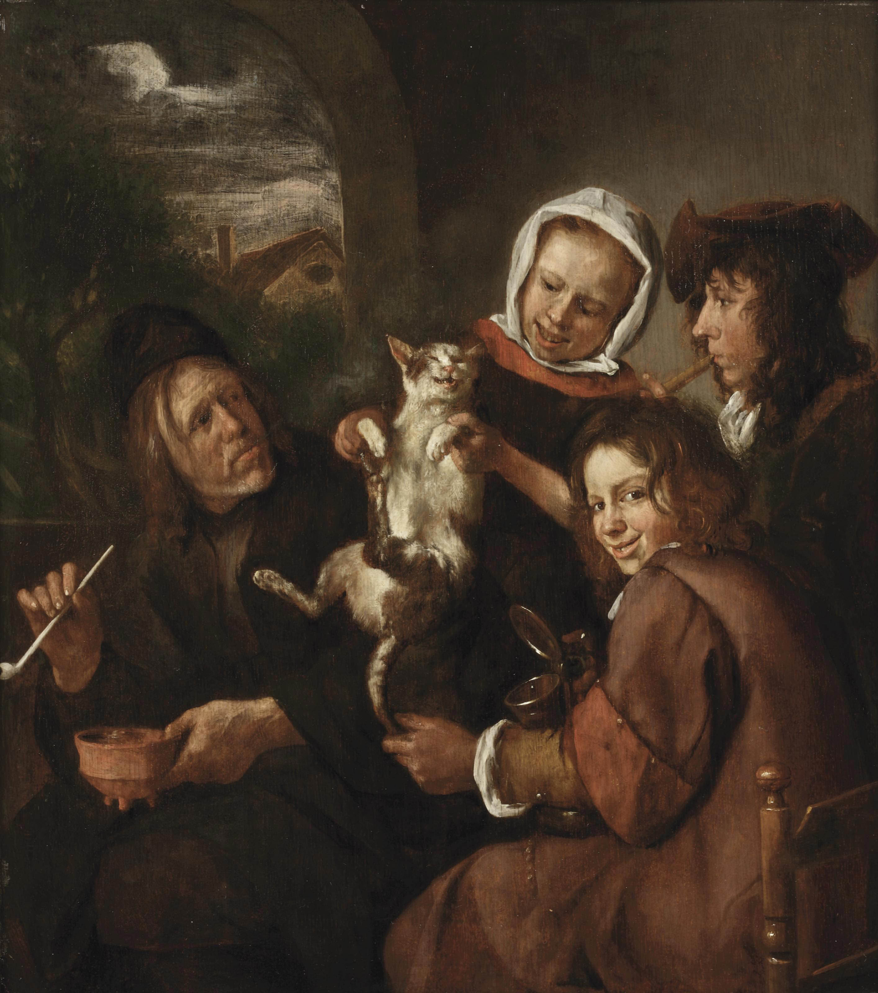 Children teasing a cat