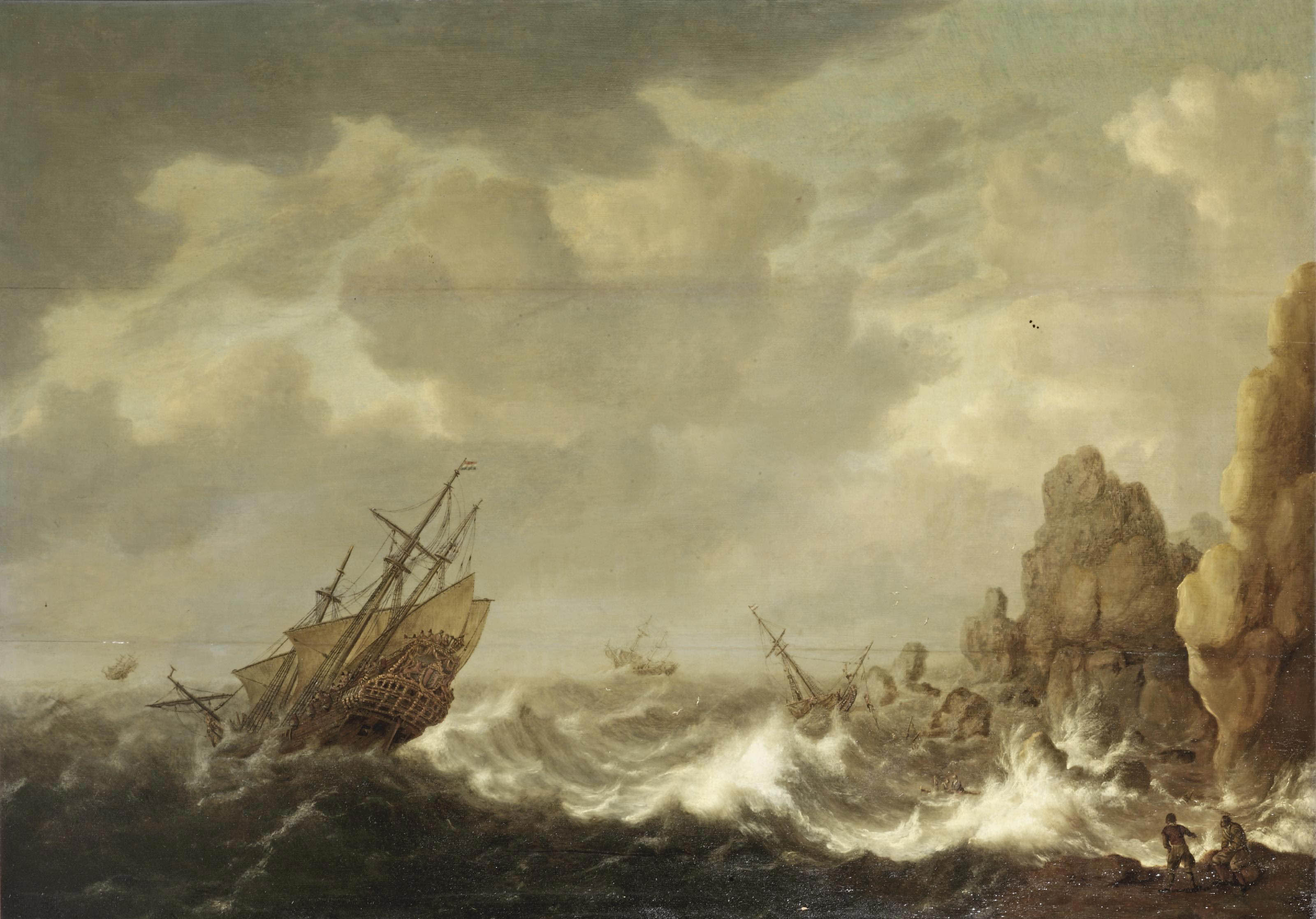 A Dutch merchant and other ships in a gale off a rocky coast, castaways in the foreground
