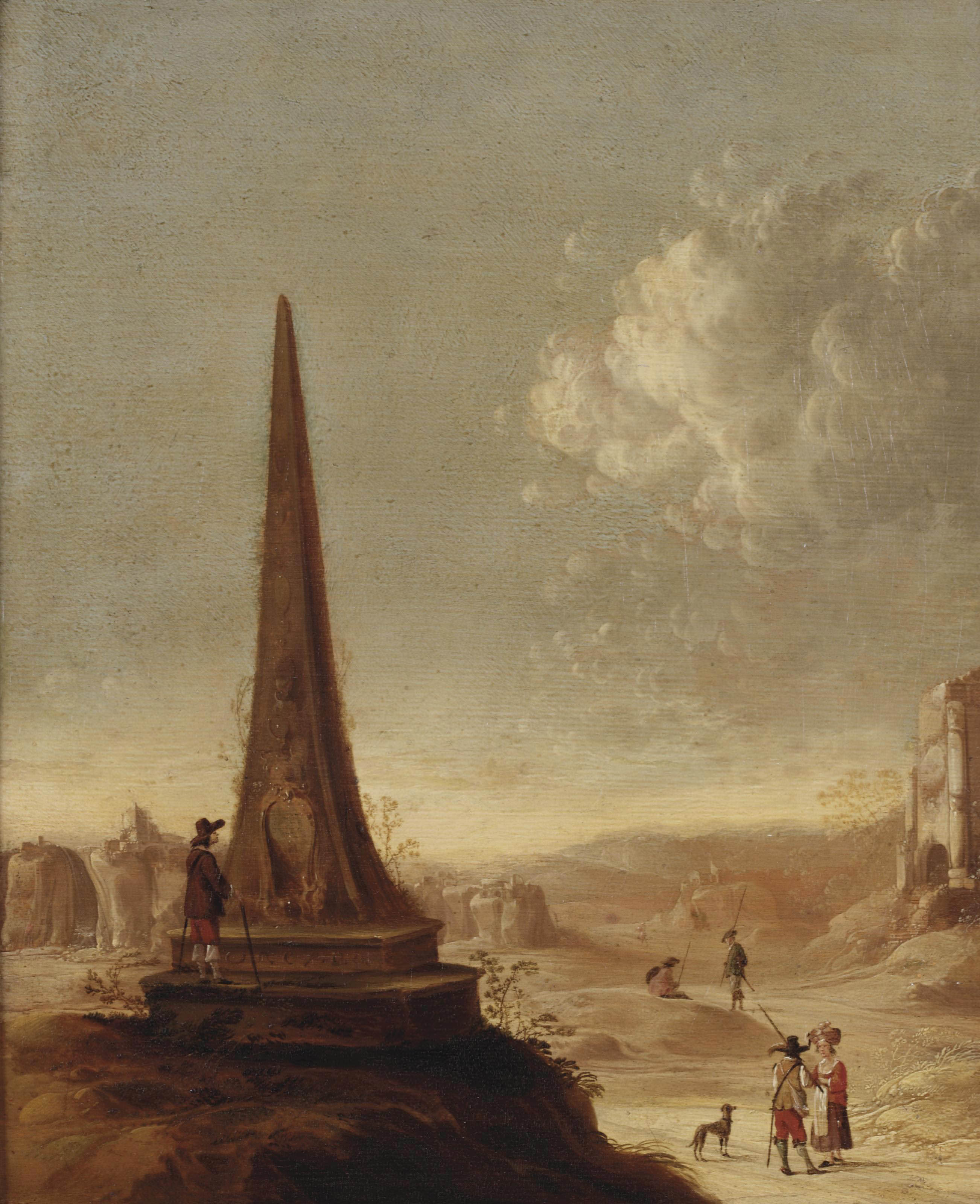 An Italianate landscape with a Grand Tourist studying the inscriptions on an obelisk