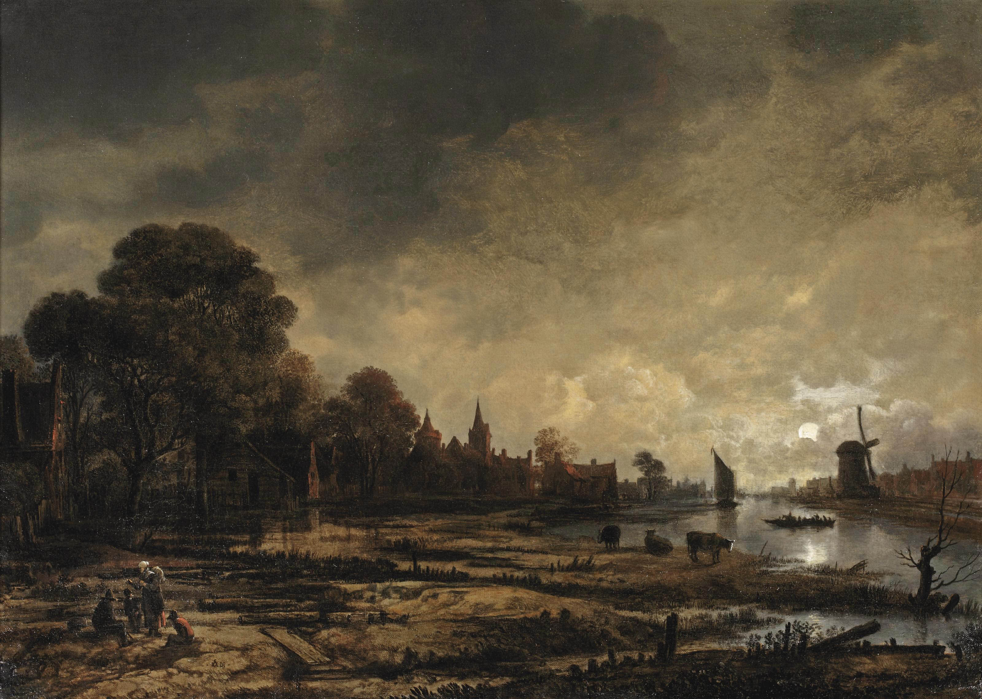 A moonlit river landscape with figures conversing on the outskirts of a town