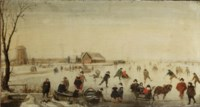 A winter landscape with skaters on a frozen river, a windmill and other buildings beyond