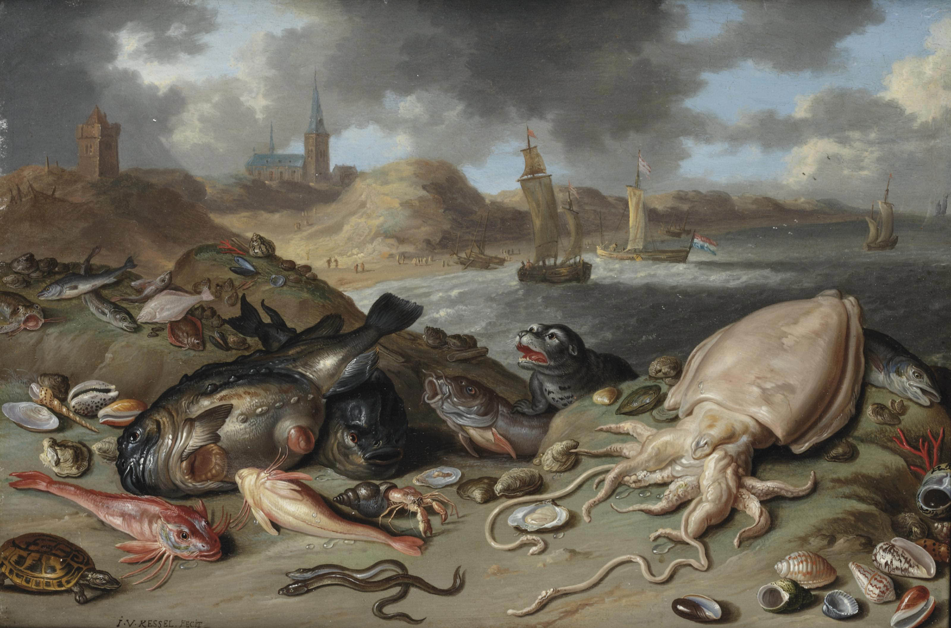 An allegory of water: a squid, a seal, a turtle, eels, oysters and other fish and shellfish in the dunes of Scheveningen, shipping beyond