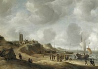 A view of Egmond aan Zee with fisherfolk on the beach and shipping offshore