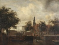 A view of Amsterdam with the Haarlemmersluis and the Haringpakkerstoren