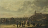 An elegant company and numerous other figures on the beach at Scheveningen