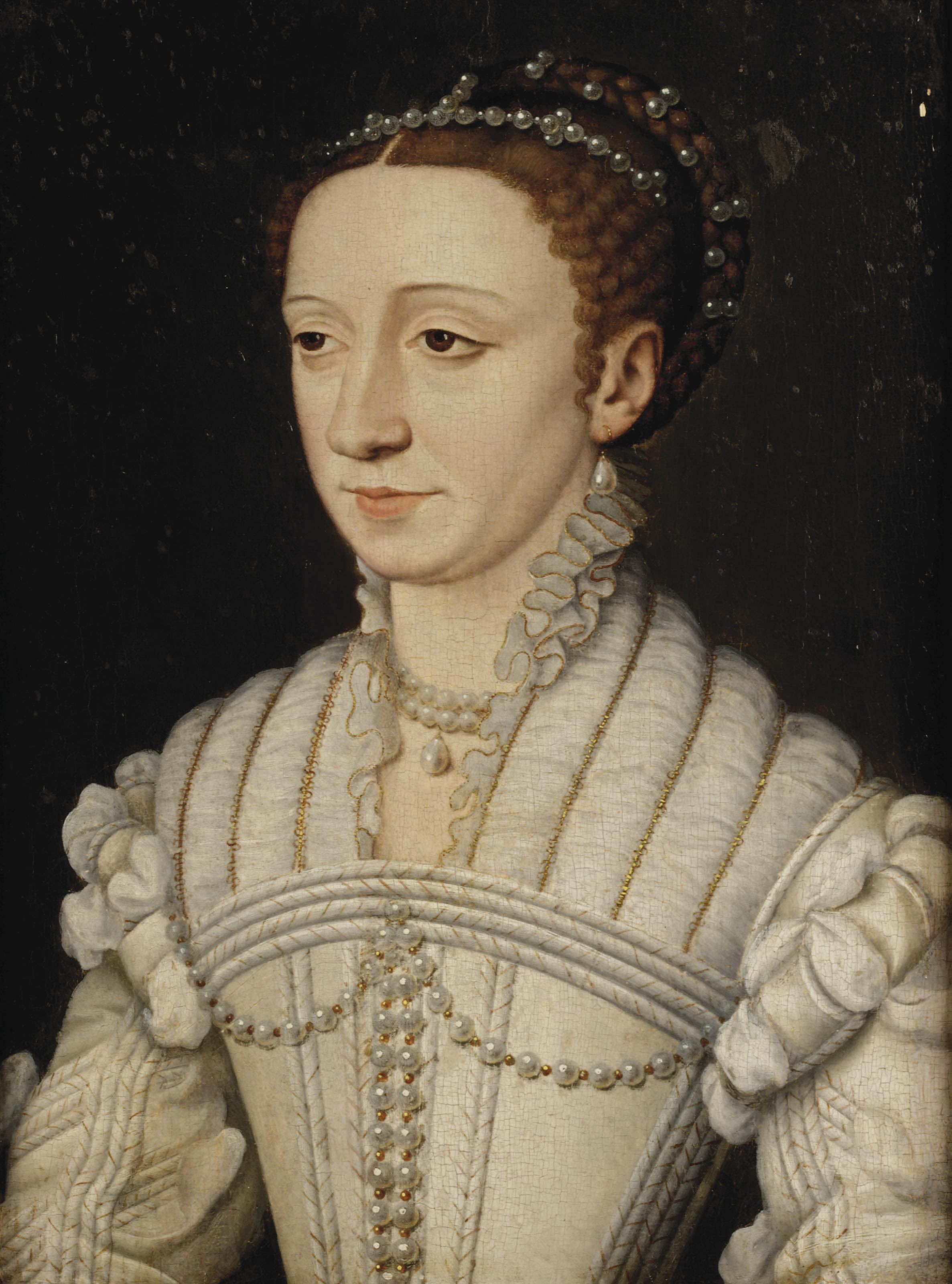 Portrait of Margaret of France, Duchess of Berry, later Savoie, half- length, in a white dress