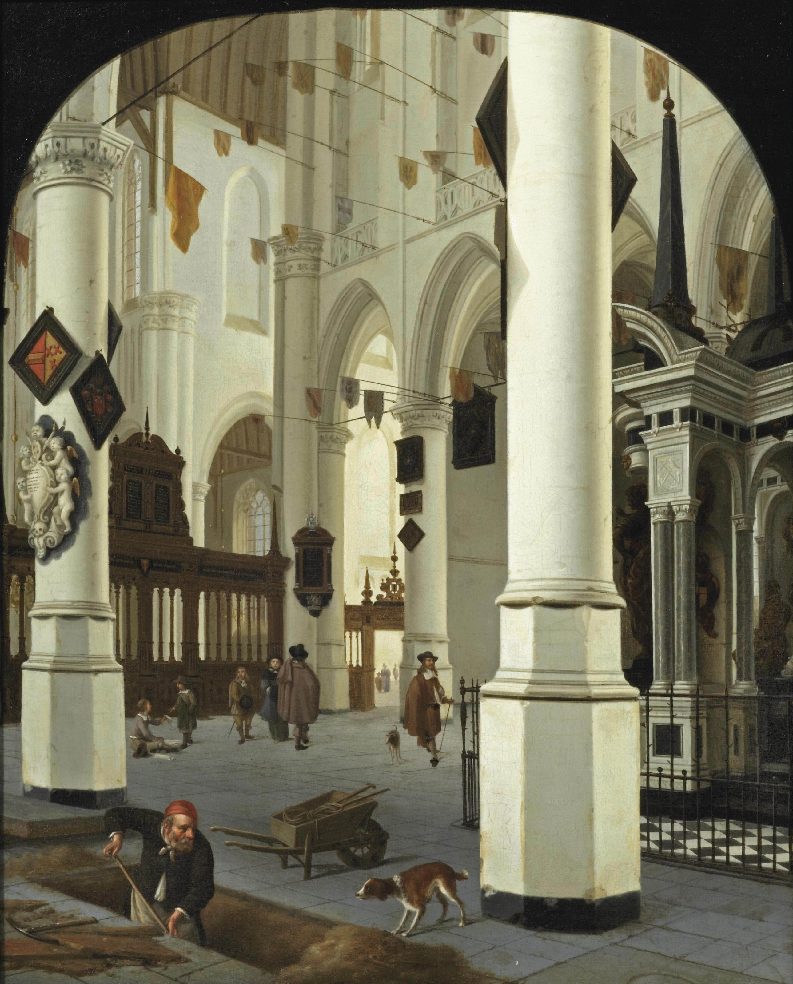 Interior of the Nieuwe Kerk, Delft, from the south-east, with the tombe of William the Silent