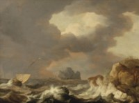 Shipping on stormy waters near a rocky coast