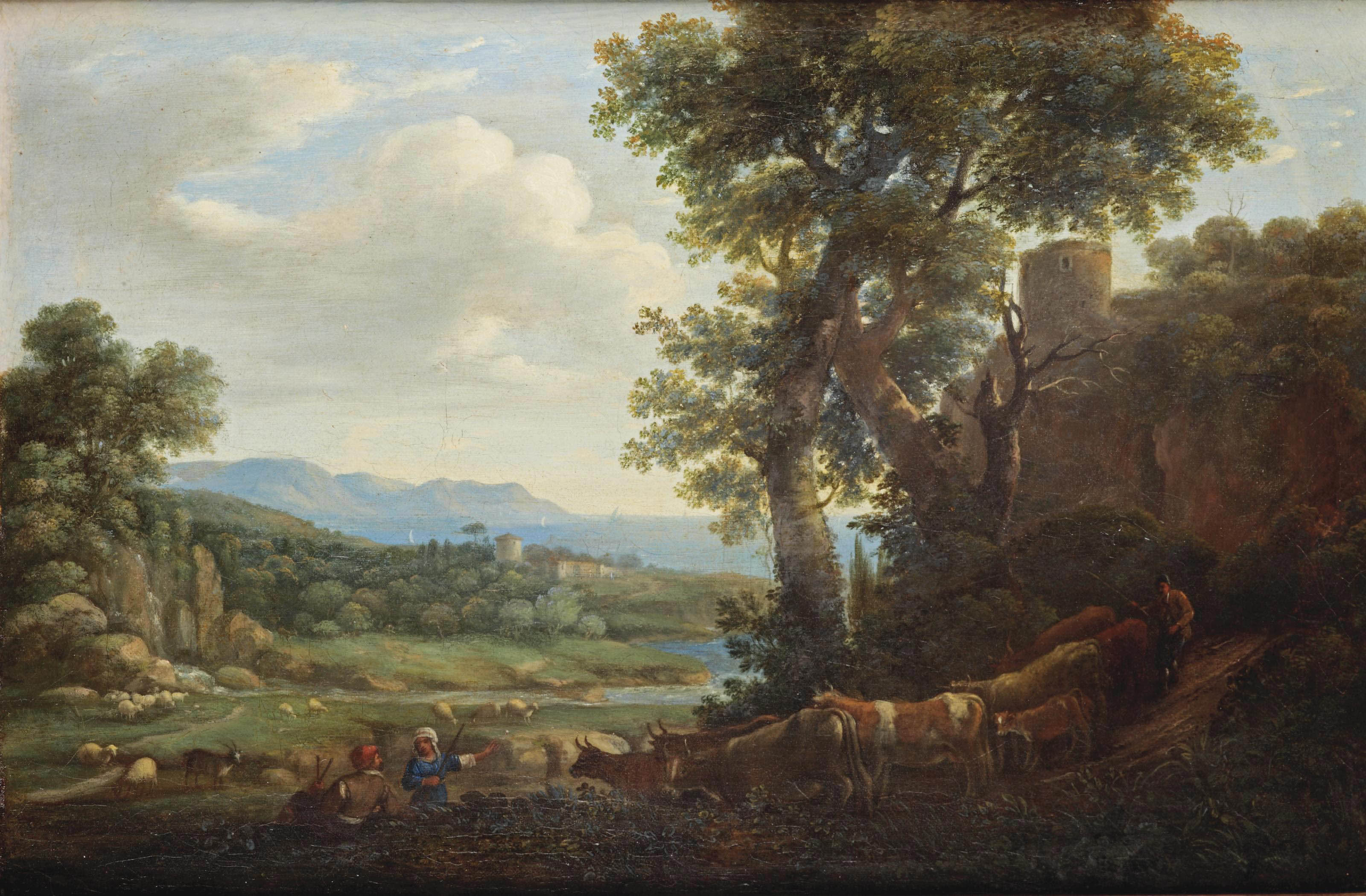 A rocky landscape with shepherds and their cattle