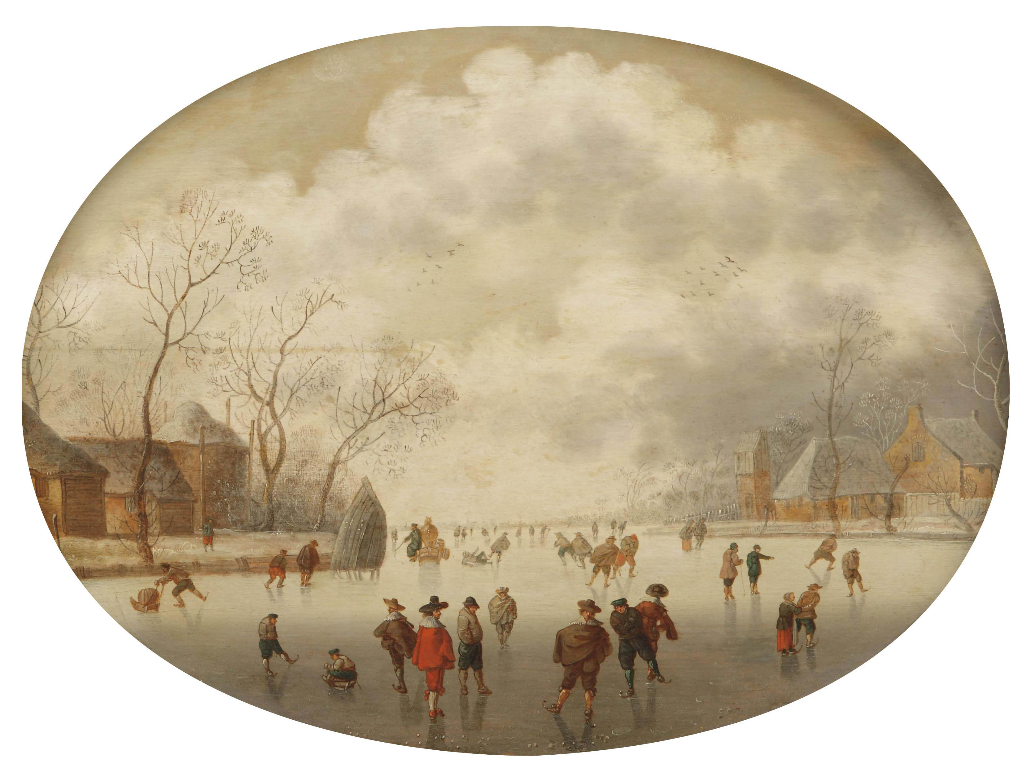 A winterlandscape with figures skating and sleighing on a frozen river near a village