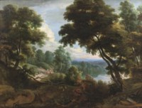 A wooded river landscape with figures conversing on a track