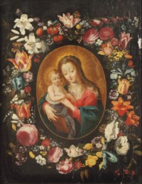 The Virgin and Child in a feigned cartouche, surrounded by a garland of flowers