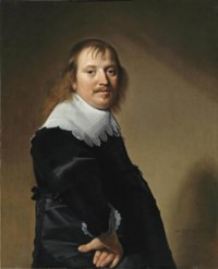 Portrait of a gentleman, half-length, in a black costume with a white collar and cuffs