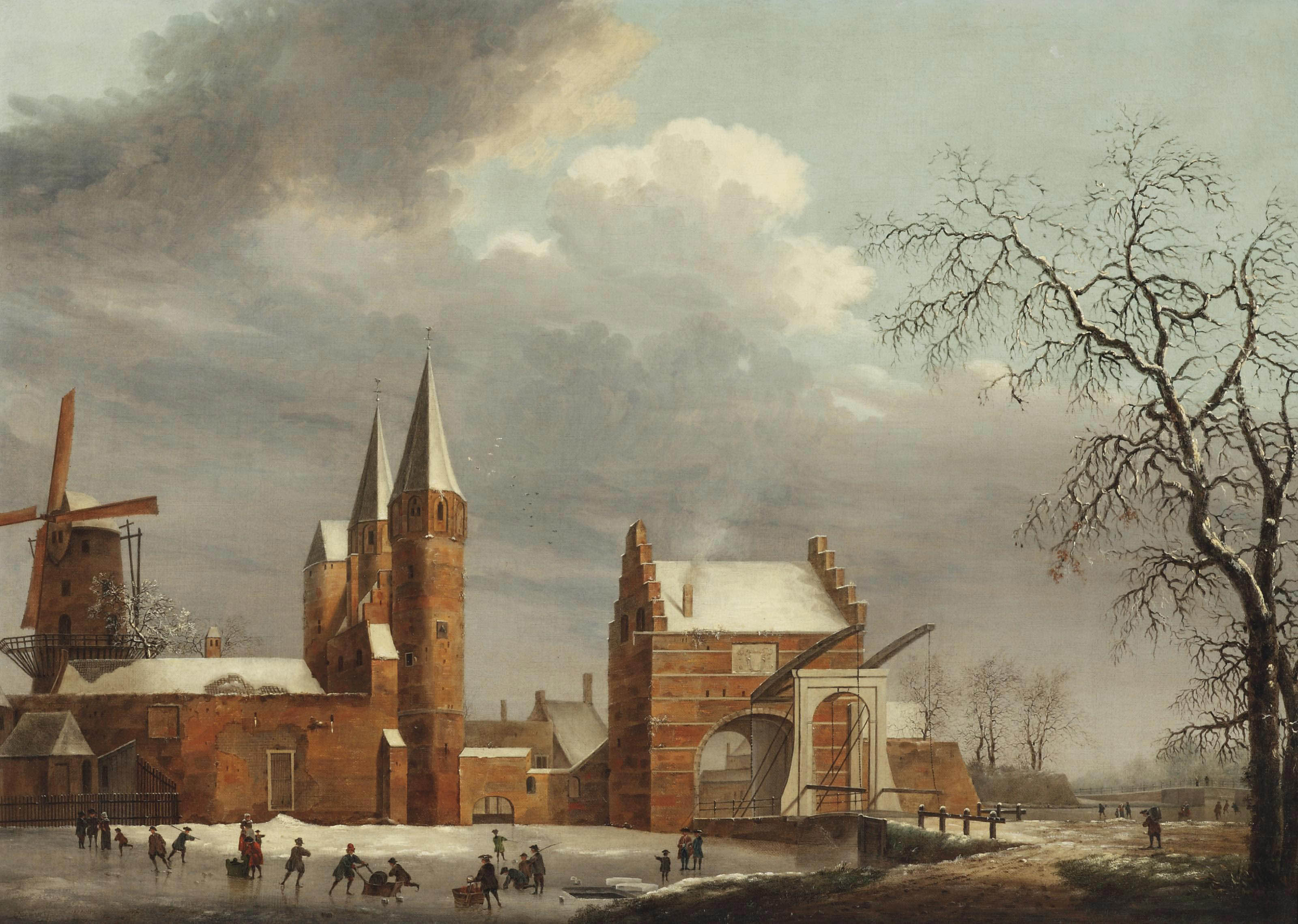 A winter landscape with figures skating on ice in front of the Oostpoort, Delft