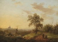 A river landscape with watering cows; and Travellers resting in a summer landscape