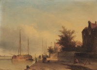 Figures on a quayside in a Dutch town