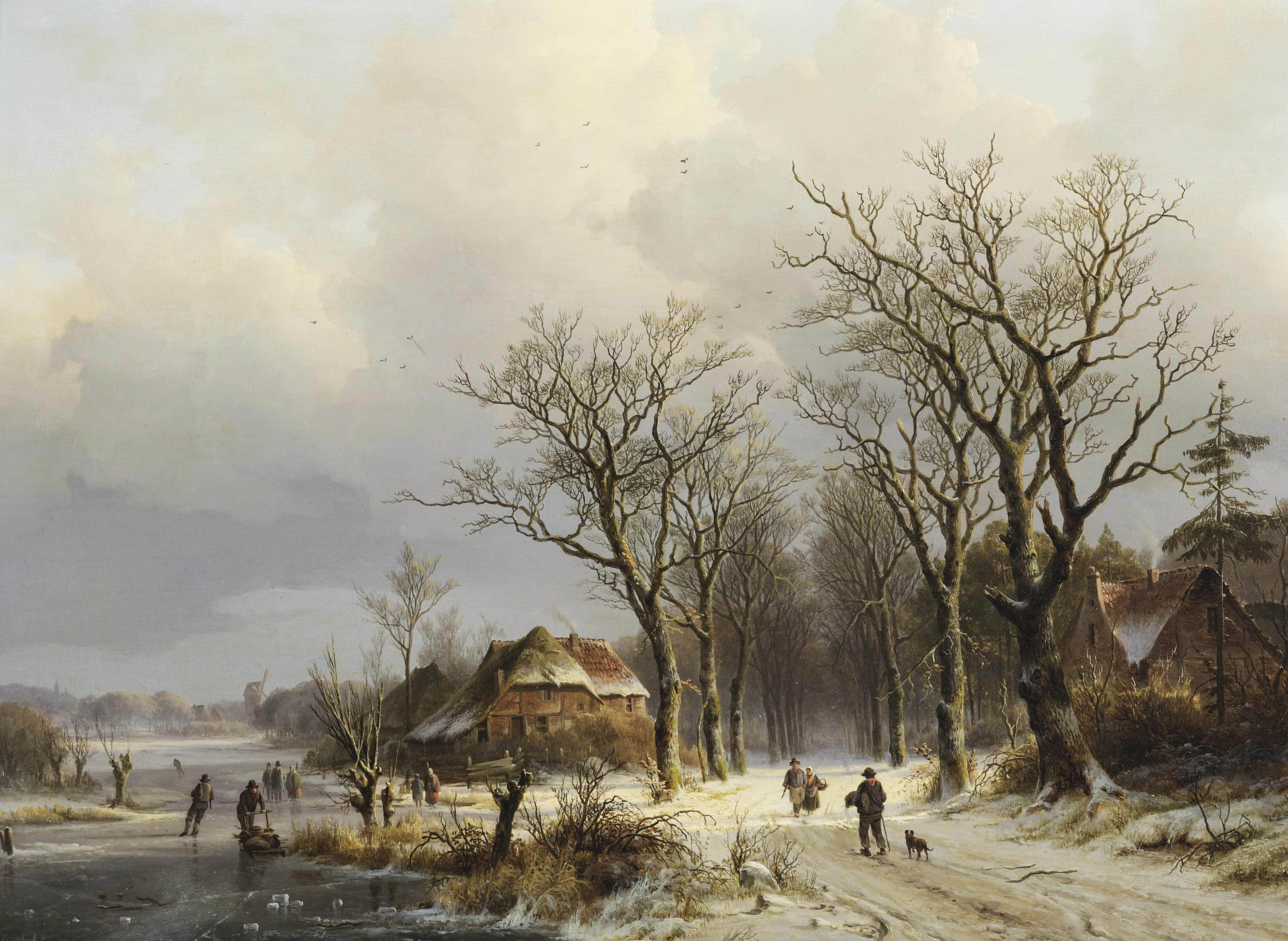 A wooded winter landscape with travellers on a snow covered path and skaters on the ice