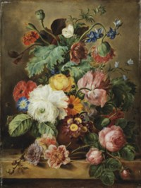 Roses, poppies, marigolds and other flowers in a earthenware vase