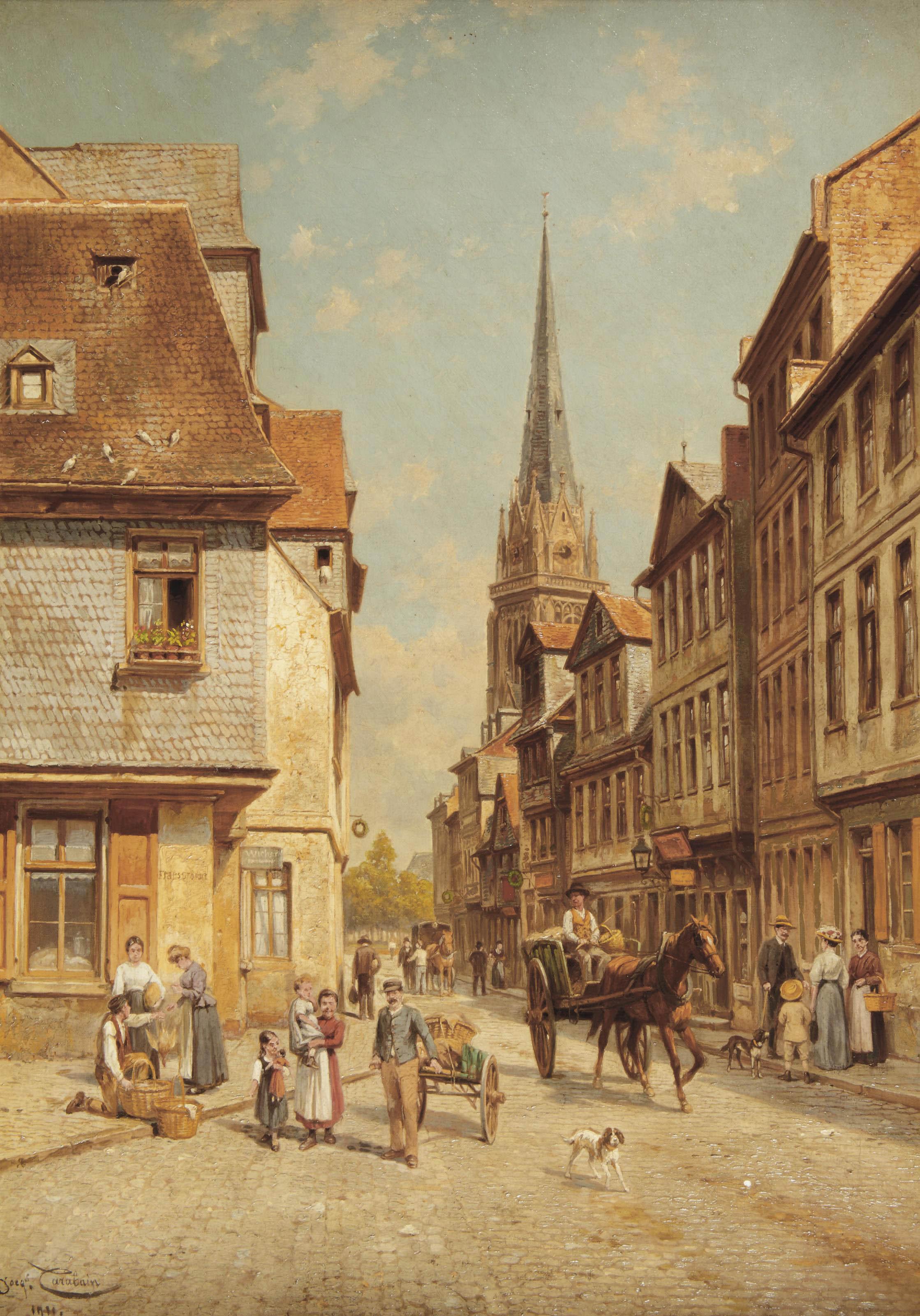 Townspeople in a sunlit street