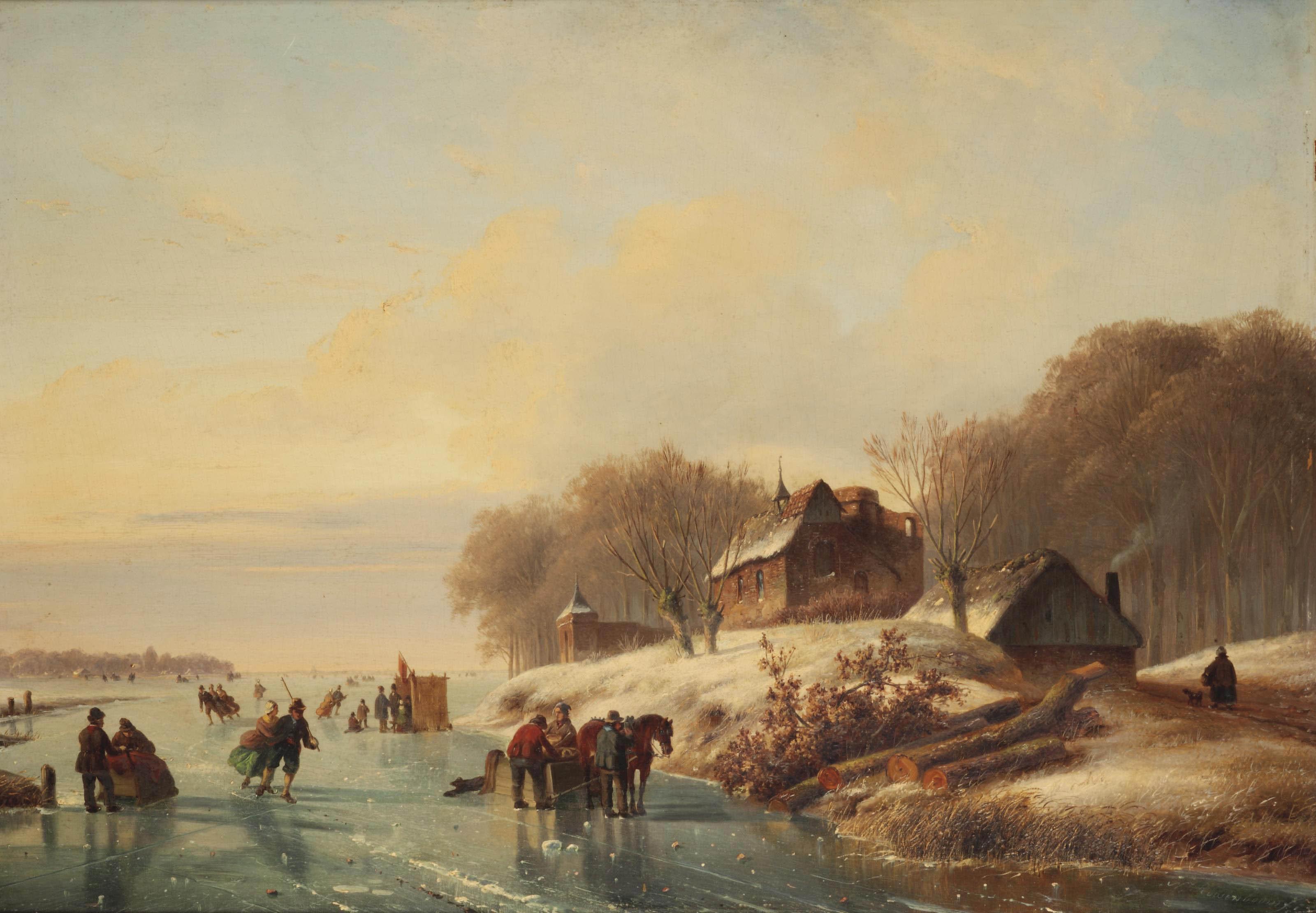 Skating in a winter landscape at dusk