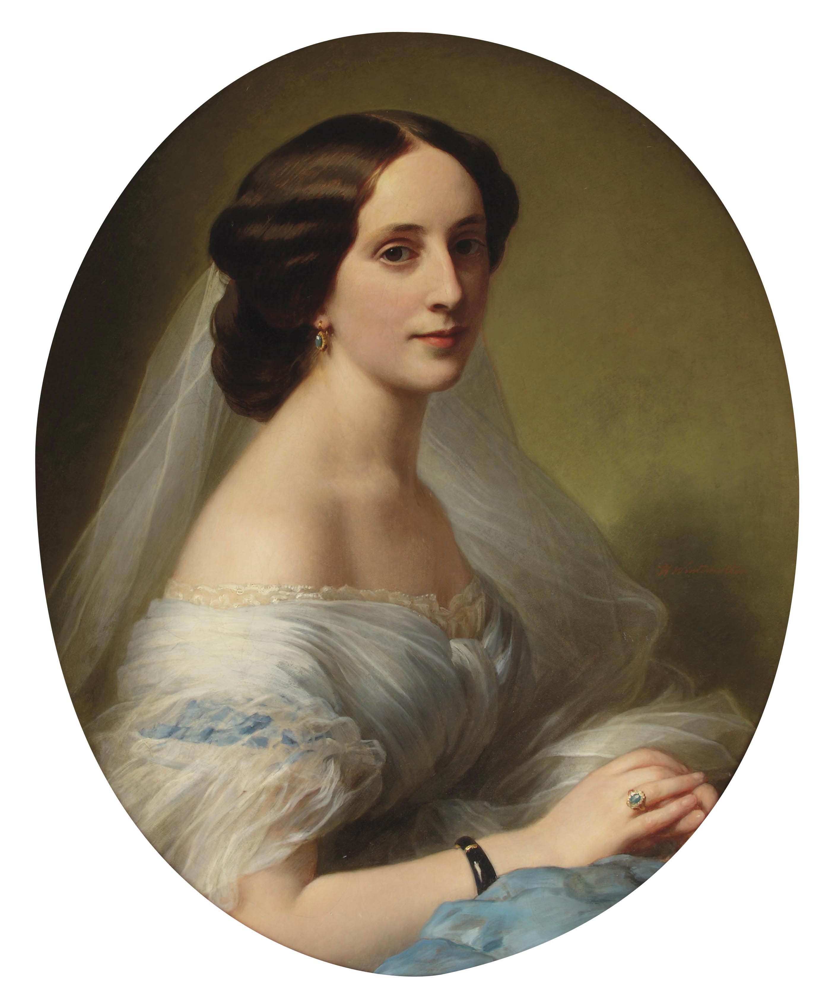Portrait of a young woman, bust-length, in a blue silk dress