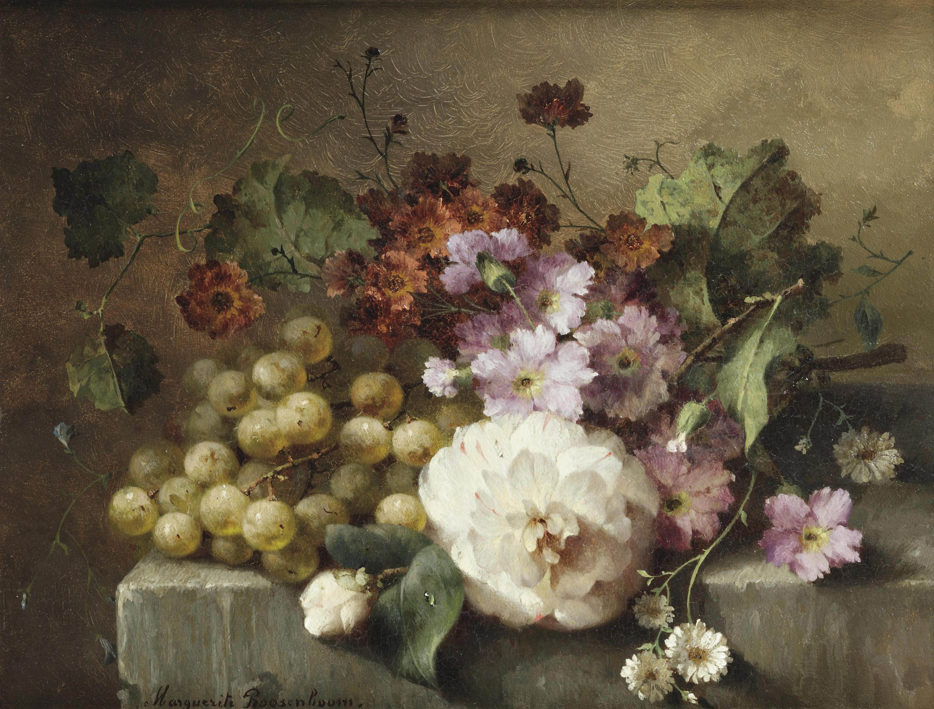 A camellia, carnations, grapes and other flowers on a marble ledge