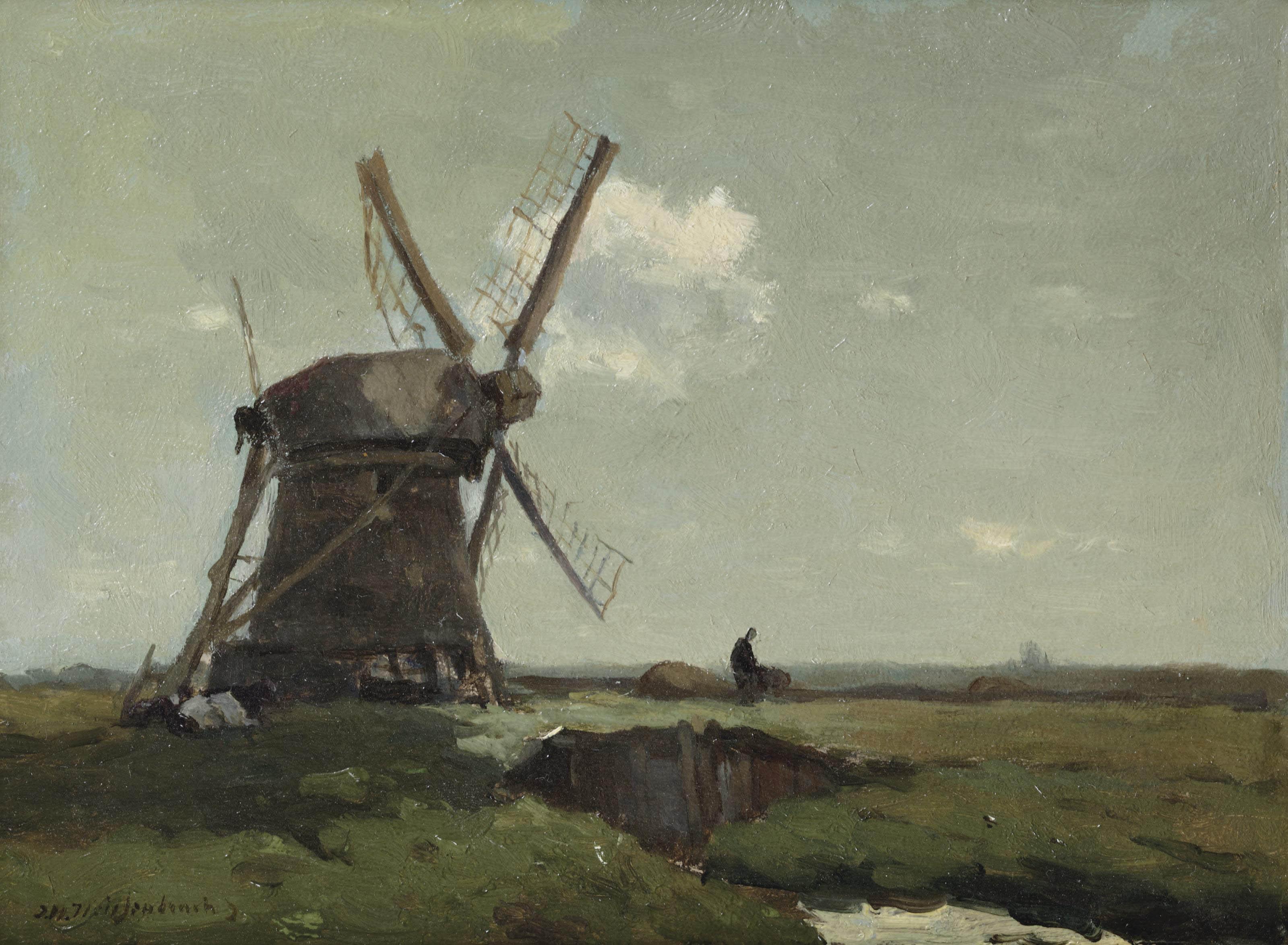 Windmill in a polder landscape, near Noorden