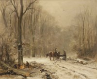 Loggers in a winter forest