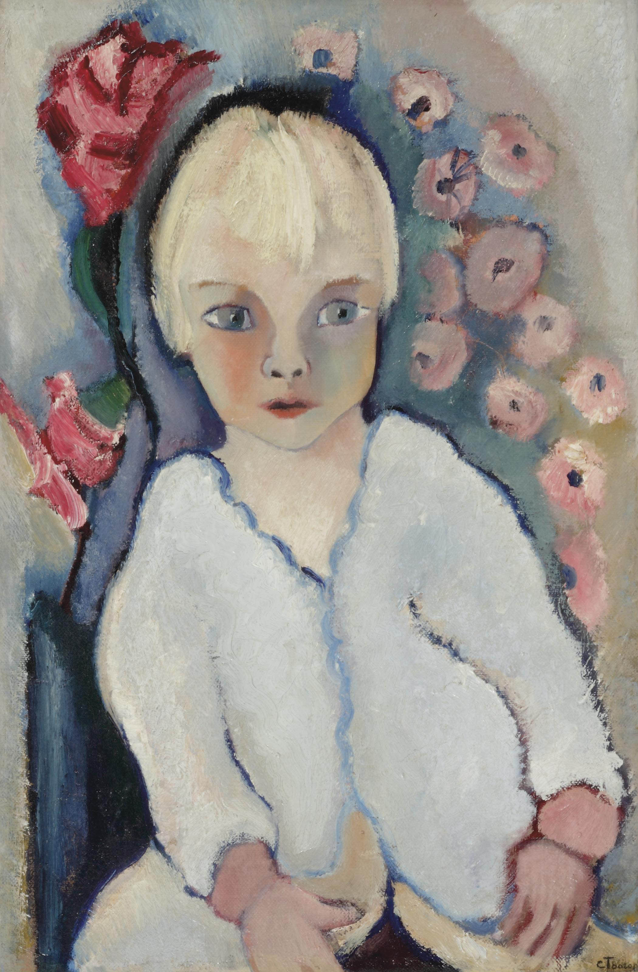 Portrait of a child in white