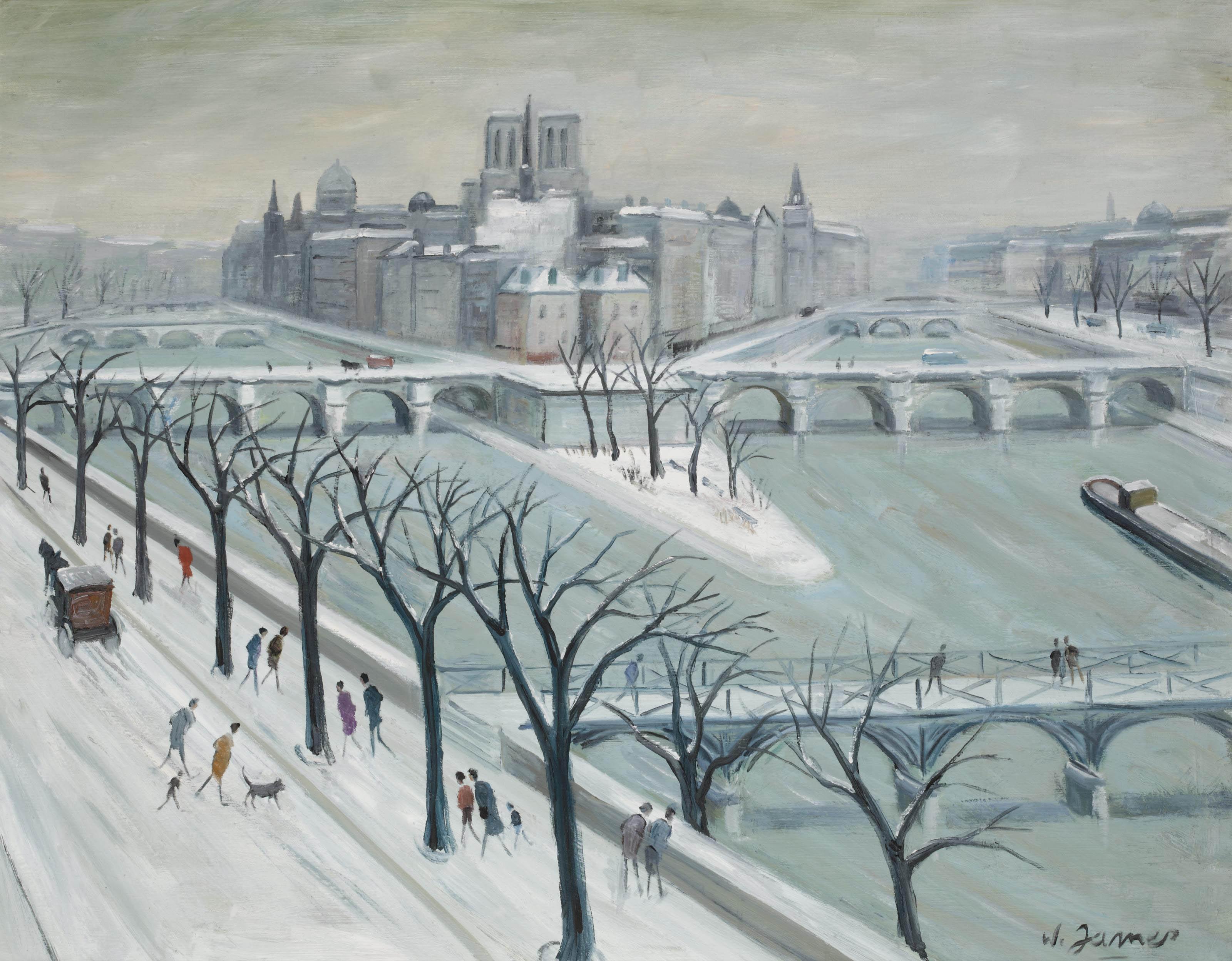 L'île St-Louis sous la neige, Paris