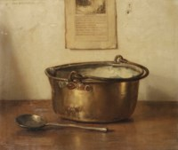 Stilleven met koperen keteltje; a still life with copper pot