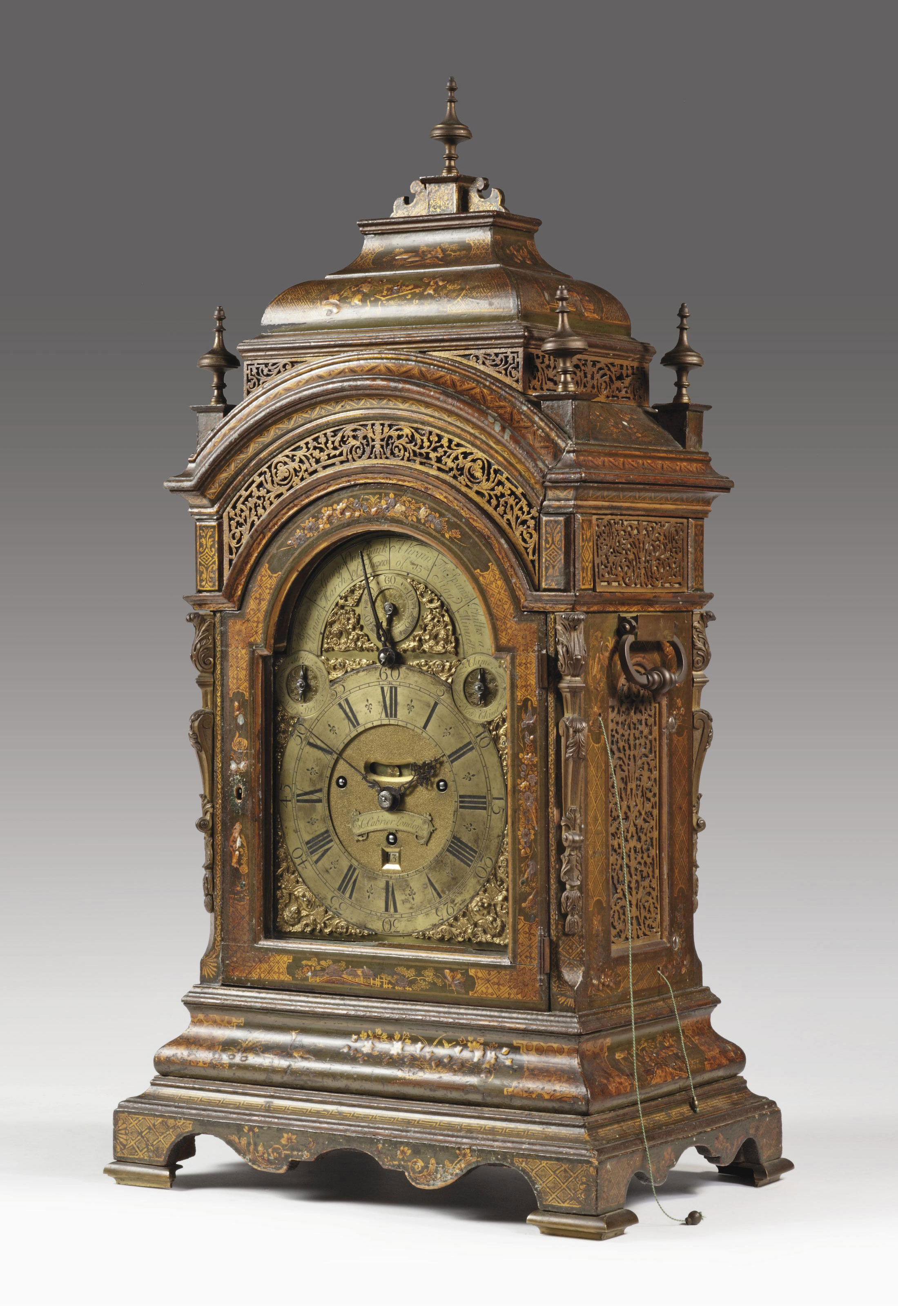 A GEORGE II BRASS-MOUNTED GREEN JAPANNED MUSICAL EIGHT DAY TABLE CLOCK WITH QUARTER PULL REPEAT AND ON TURNTABLE PLINTH