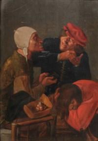 Three men delousing in an interior
