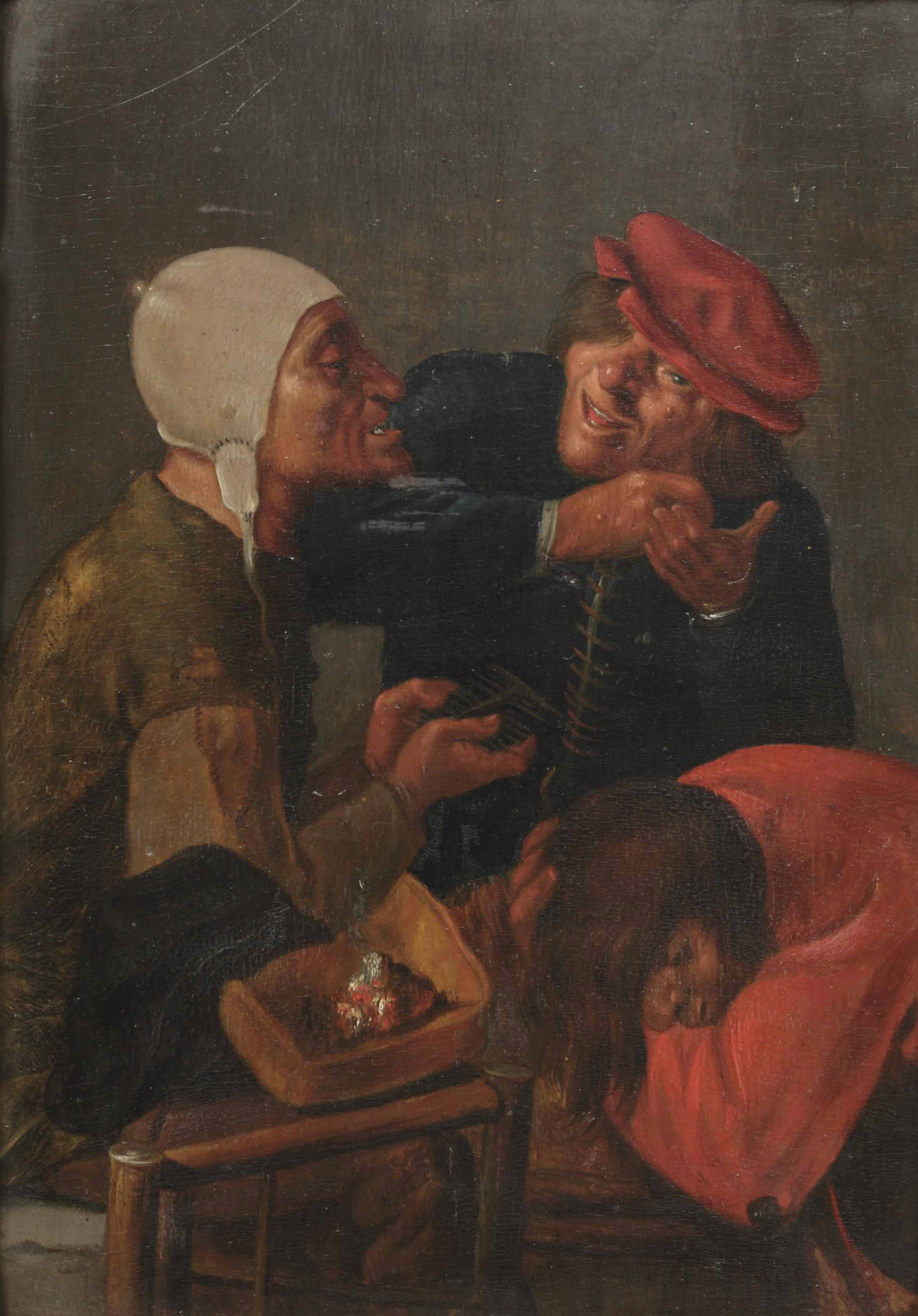 Three men delousing in an interior