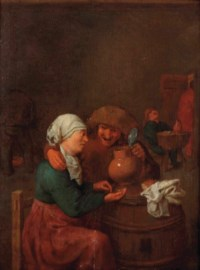 A peasant couple drinking in a tavern