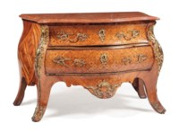 A DUTCH ORMOLU-MOUNTED TULIPWOOD, ROSEWOOD AND PARQUETRY COMMODE