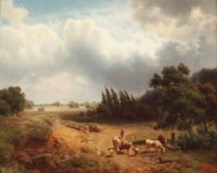 A wooded landscape with a shepherdess and her cattle