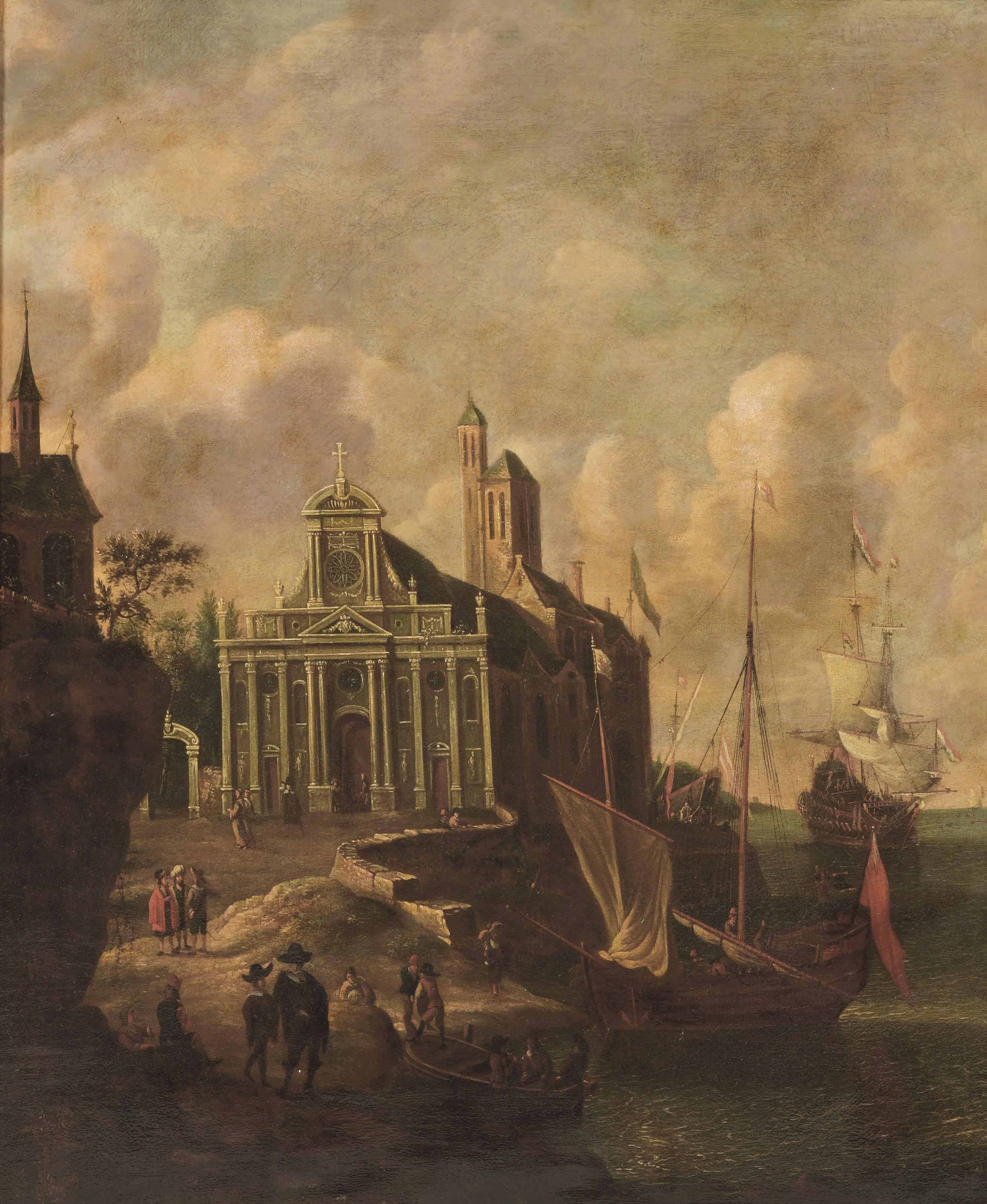 An Italianate harbour view with a church and mooring ships