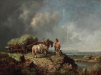 A landscape with a fallen hay wain