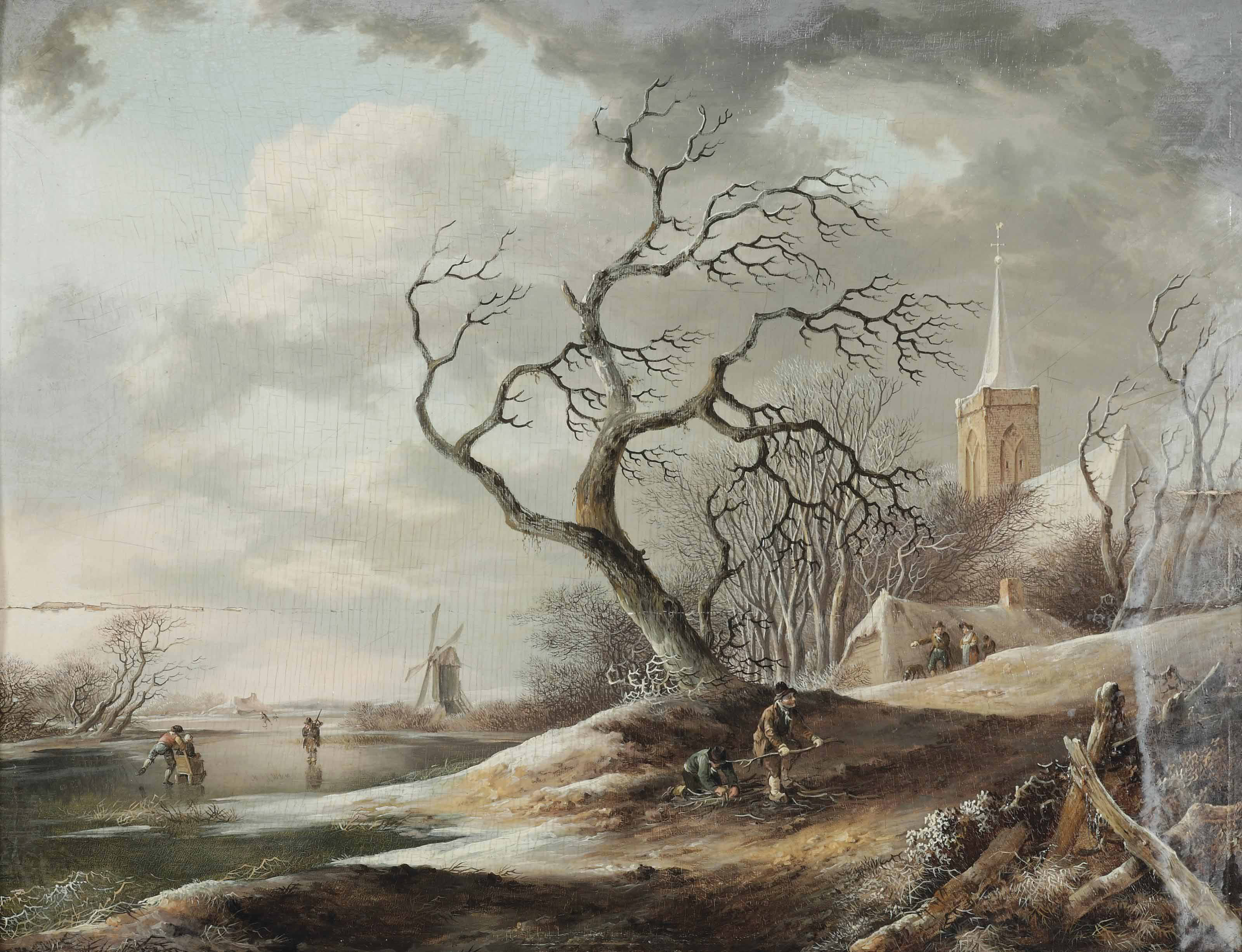 A winter landscape with villagers gathering wood, a church and a windmill beyond
