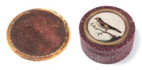 AN ITALIAN PORPHYRY AND MICROMOSAIC SNUFFBOX AND COVER