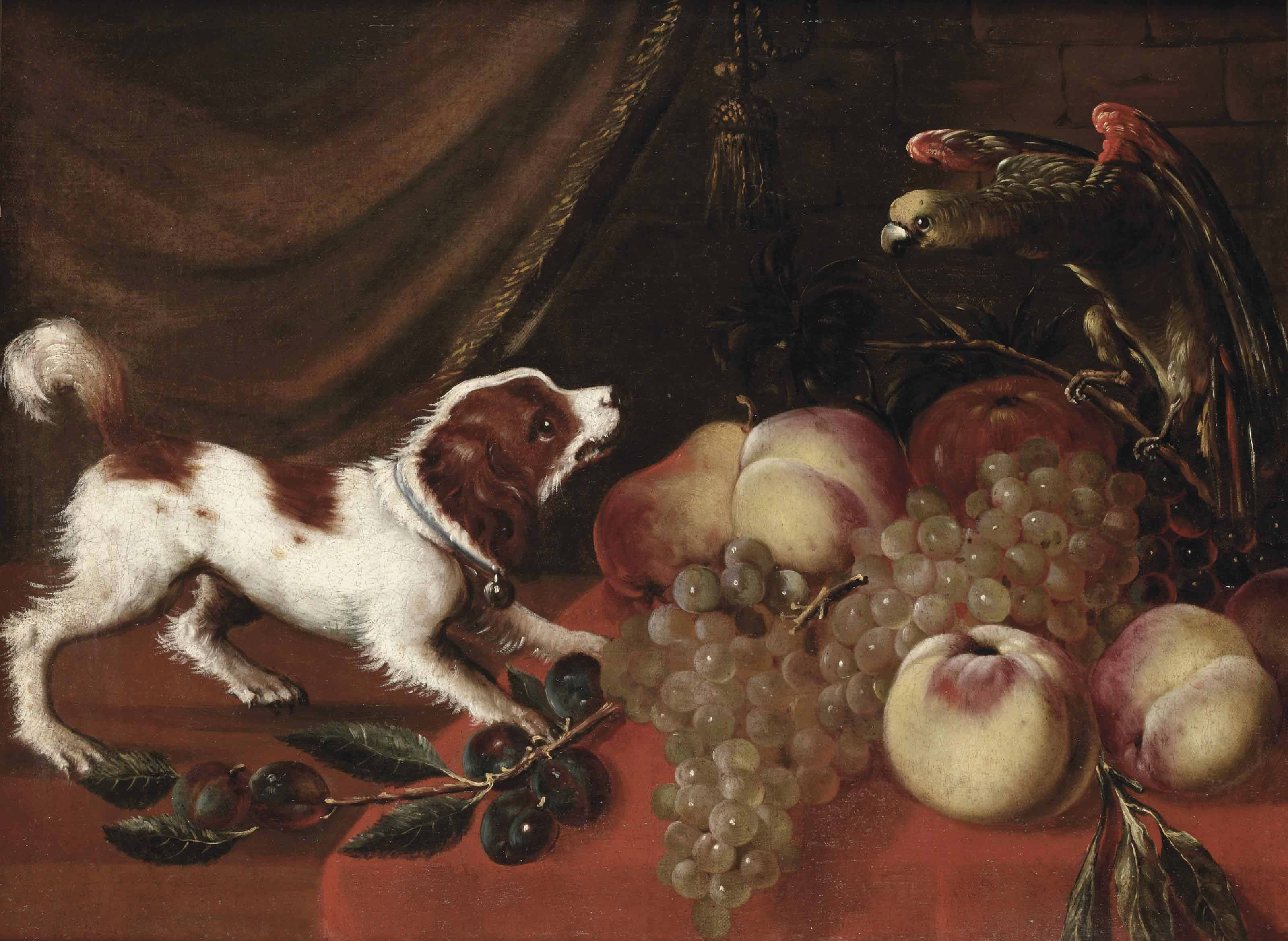 A dog barking at a parrot on a table with peaches, prumes and white grapes