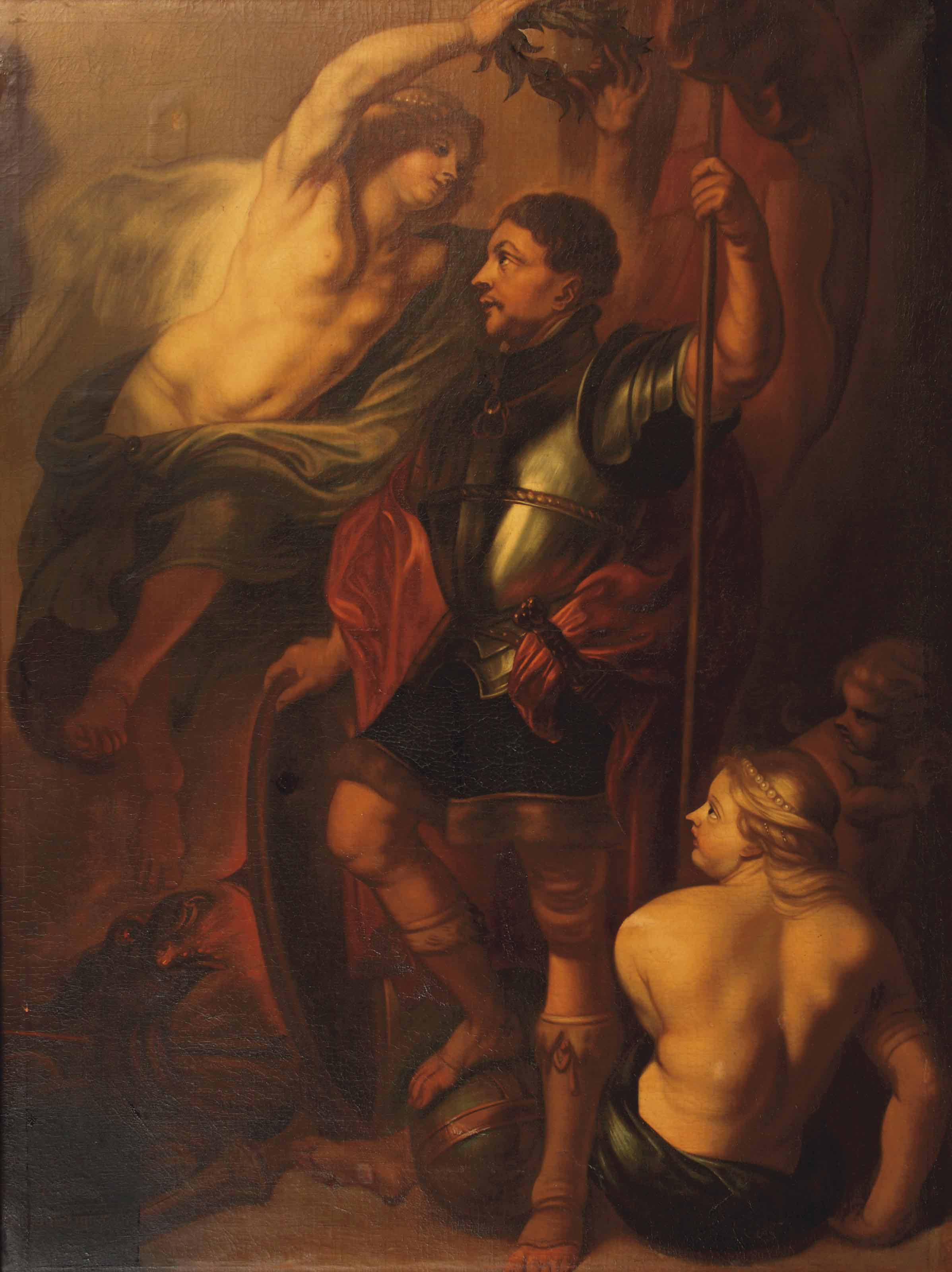 Saint George crowned with laurels