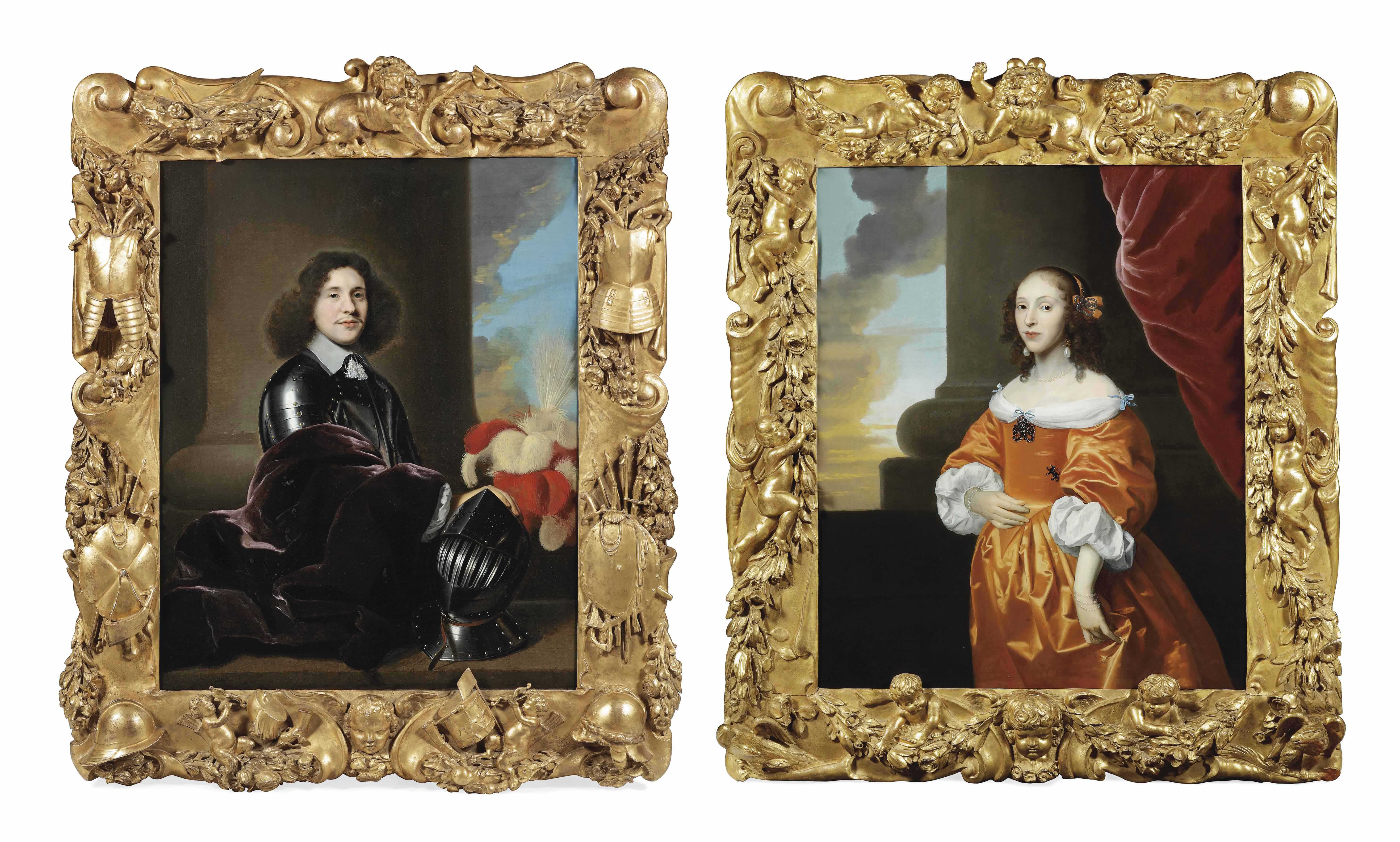 Portrait of possibly the Stadholder of Friesland and Groningen Willem Frederik van Nasau Dietz (1613-1664), half-length, in armour with a white collar and a purple velvet cloak over his right arm, standing behind a table with a red and white feathered helmet; and Portrait of possibly Princess Albertine Agnes van Oranje-Nassau (1634-1696), half-length, in an orange dress with white cuffs and a diamond brooch, standing before a column and a red curtain