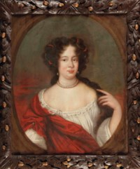 Portrait of a lady, bust-length, in a white dress with a red scarf, in a painted oval; and Portrait of a young lady, bust-length, wearing a green and white dress and a pearl neckless, in a painted oval
