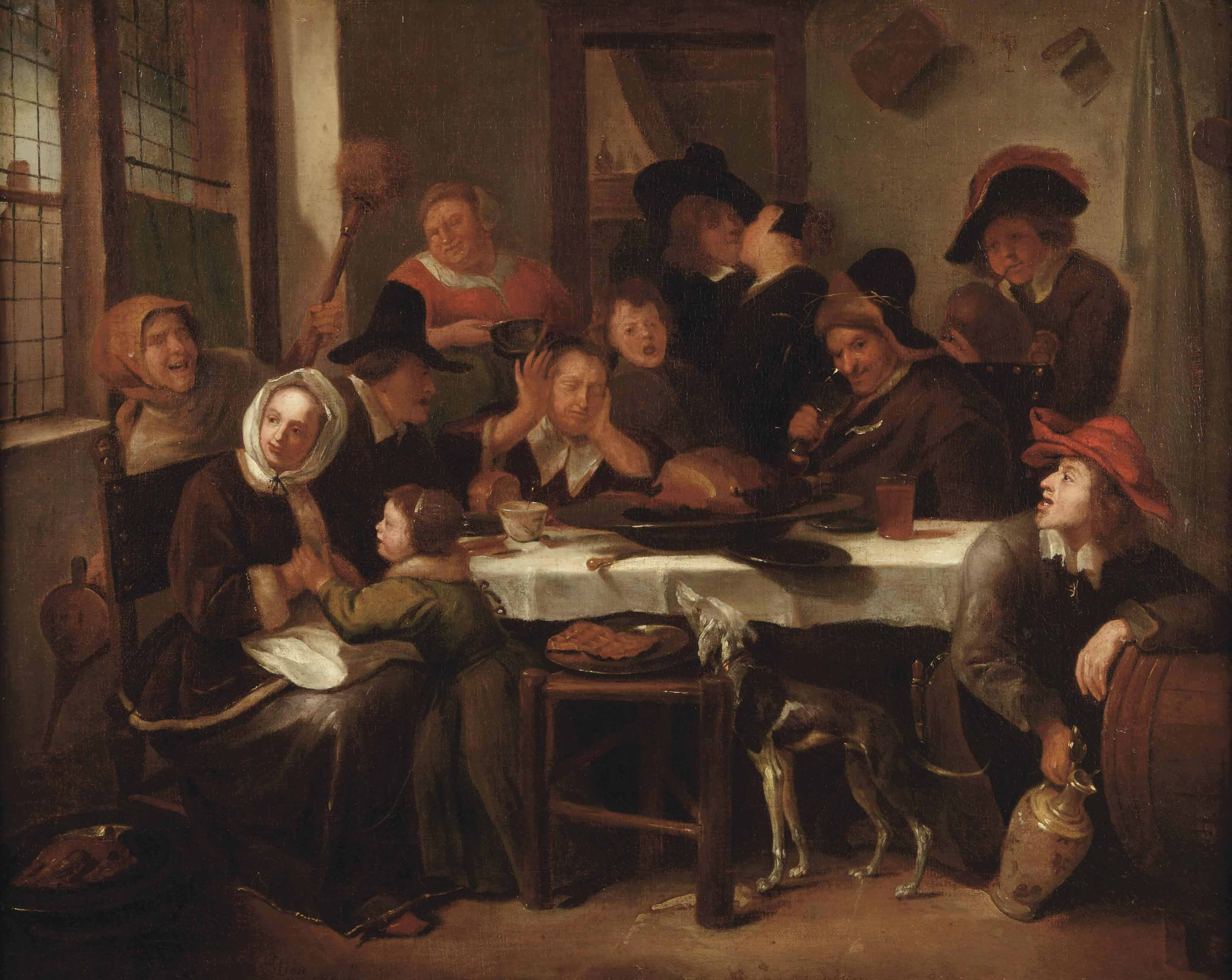A merry company eating and drinking in an interior
