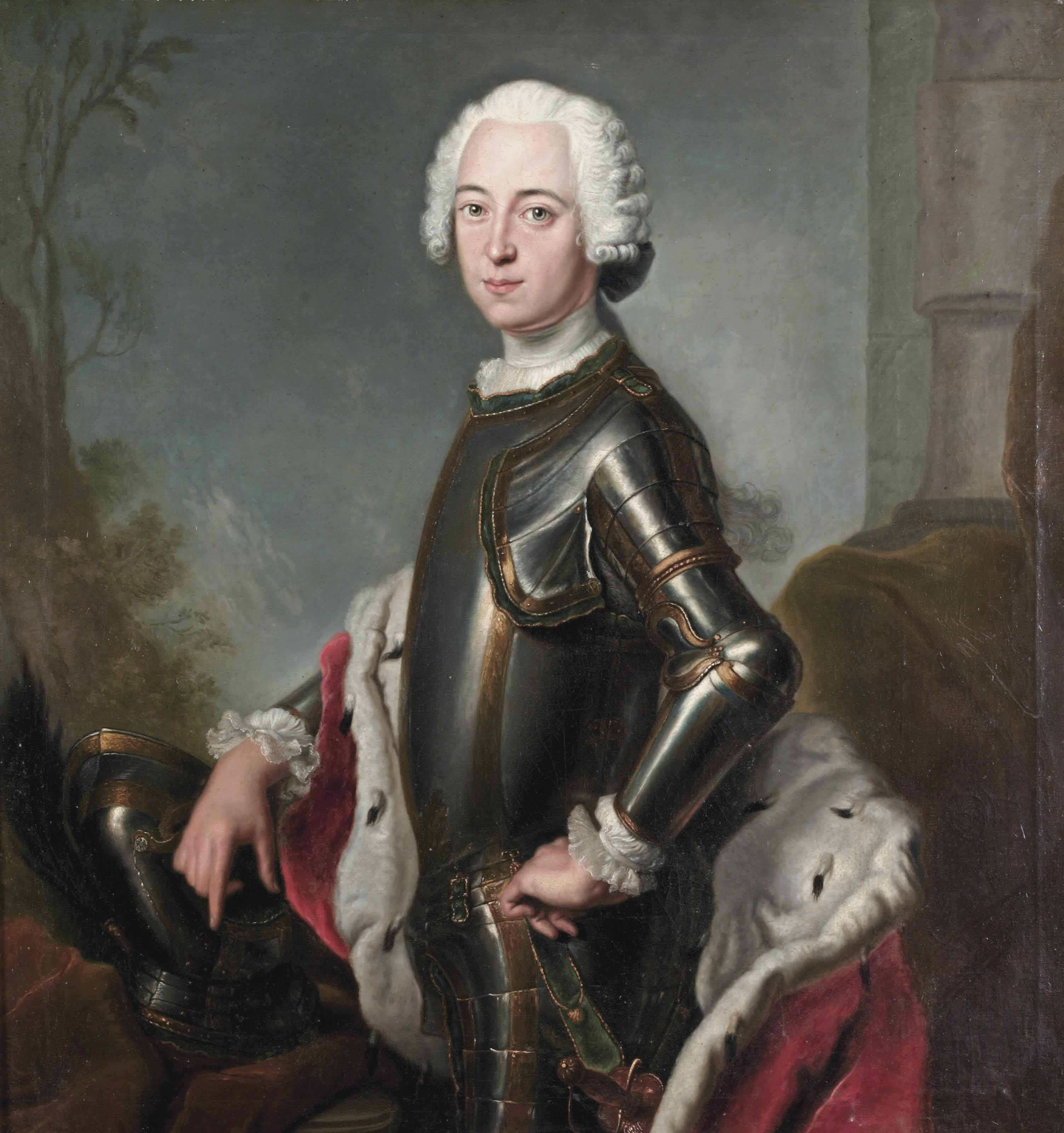 Portrait of Friedrich, Duke of Mecklenburg-Schwerin (1717-1785), called Friedrick der Fromme, half-length, in armour and an ermine-lined red cloak, standing near a column in a landscape